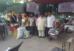 Packing of material for flood victims of J&K at Bittu Dhaba (mohali)