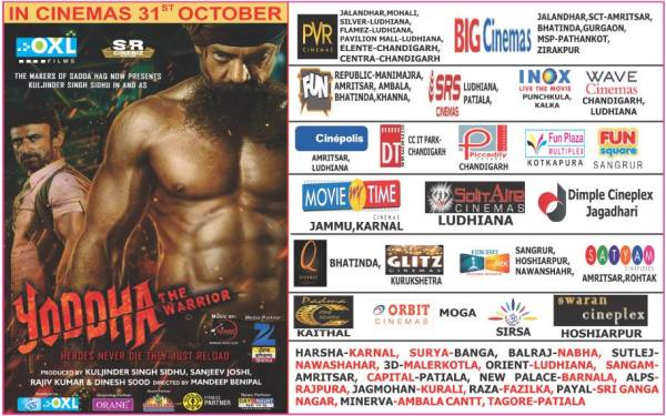 Punjab and North India Theaterical Listings for upcoming film Yoddha