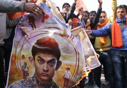 Bajrang Dal burn posters of Aamir Khan's movie PK in Jammu
