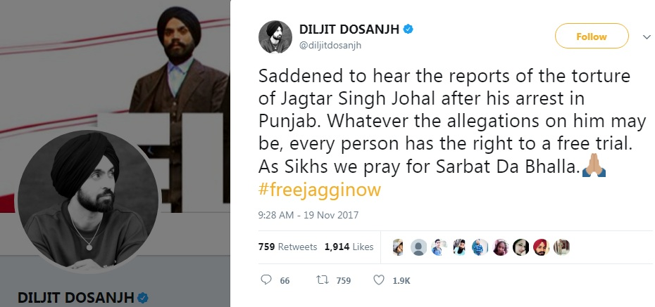 Punjabi Singer/Actor Diljit Dosanjh says: Saddened over Reports of Torture of Jagtar Singh Jaggi